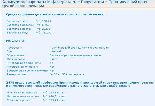 Калькулятор зарплат. Россия.1 стр.